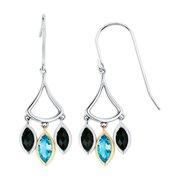 Boston Bay Diamonds  18k Yellow Gold & 925 Sterling Silver 3x5mm Marquise Blue Topaz & Black Onyx Earrings