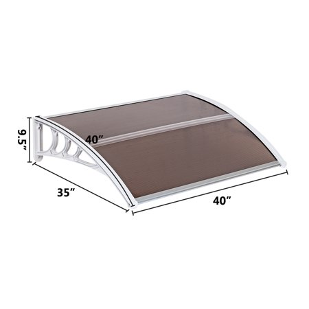 """UBesGoo 40""""x 30"""" Door Window Outdoor Awning Patio Cover UV Rain Snow Protection One-piece Polycarbonate Hollow Sheet  Brown Board & White Holder"""