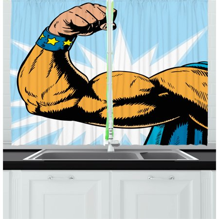 Comics Curtains 2 Panels Set, Superhero Arm Flexing Muscles Powerful Fiction Character Cartoon Graphic Style, Window Drapes for Living Room Bedroom, 55W X 39L Inches, Marigold Blue, by Ambesonne
