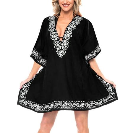 - Beach Bath Wear Summer Holiday Rayon Loose Embroidered Bikini Cover Up Mini Dress Black_N675