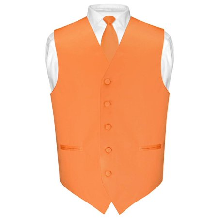 Men's Dress Vest & Skinny NeckTie Solid Orange Color 2.5