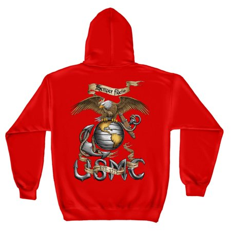 Marines USMC Semper Fi Sweatshirt by , Red, 2XL ()