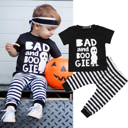 Newborn Baby Halloween Costumes Boys Girls Ghost Top T-shirt Stripes Pants Leggings Outfits Set Clothes