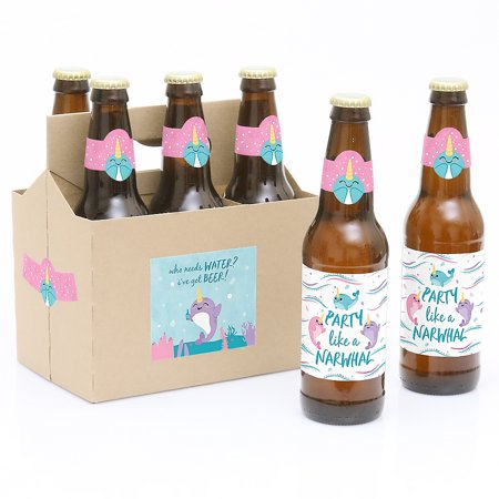 Narwhal Girl - Under The Sea Baby Shower or Birthday Party Decorations for Women and Men - 6 Beer Bottle Label Stickers and 1 Carrier](Under The Sea Birthday Decorations)