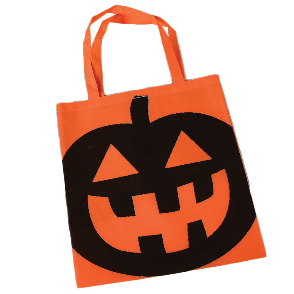 "Halloween Pumpkin 16"" Candy Trick-or-Treat Tote Bag with Handles, Orange"