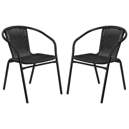 A Line Furniture Zata Black Rattan Indoor and Outdoor Stack Chairs ()