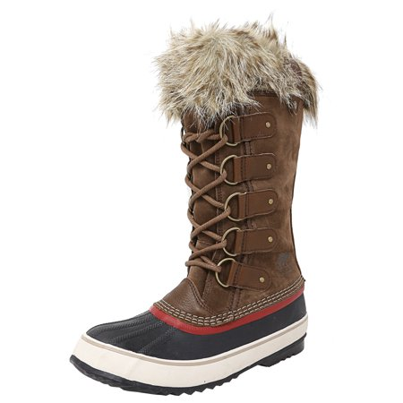 Sorel Women's Joan Of Arctic Umber / Red Dhalia Mid-Calf Leather Snow Boot - 8.5M Atomic Womens Ski Boots