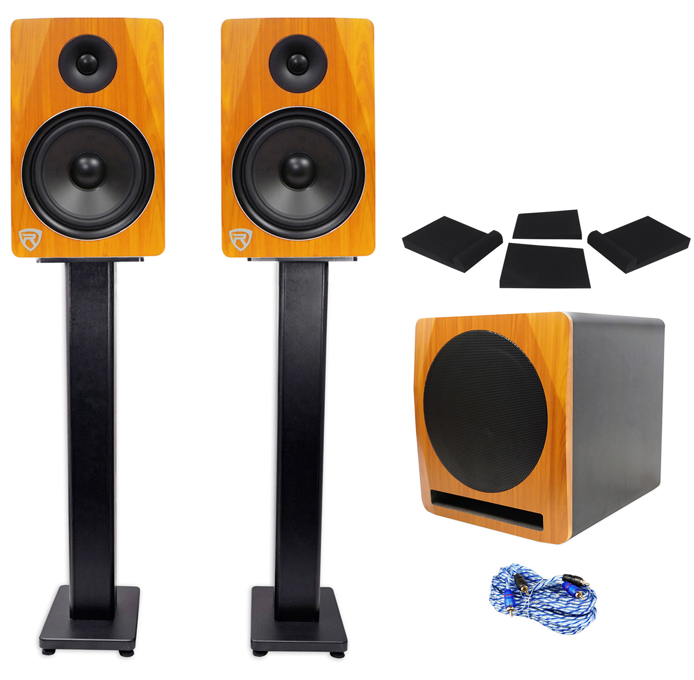 "(2) Rockville APM8C 8"" Powered Studio Monitors+Active 10"" Subwoofer+Stands+Pads by ROCKVILLE"