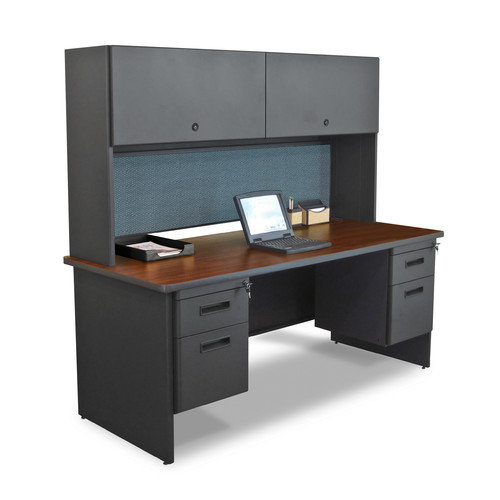 Marvel Office Furniture Pronto Double Pedestal Flipper Door Cabinet Computer Desk with Hutch by The Marvel Group