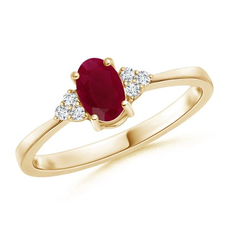 July Birthstone Ring - Solitaire Oval Ruby and Diamond Promise Ring in 14K Yellow Gold (6x4mm Ruby) - (14k Yg Frame)