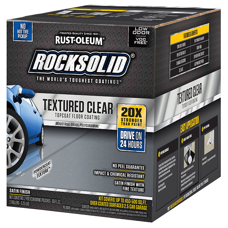 Rust-Oleum 317382 Textured Clear Topcoat Floor Coating Satin Finish 450-500sq ft Kit