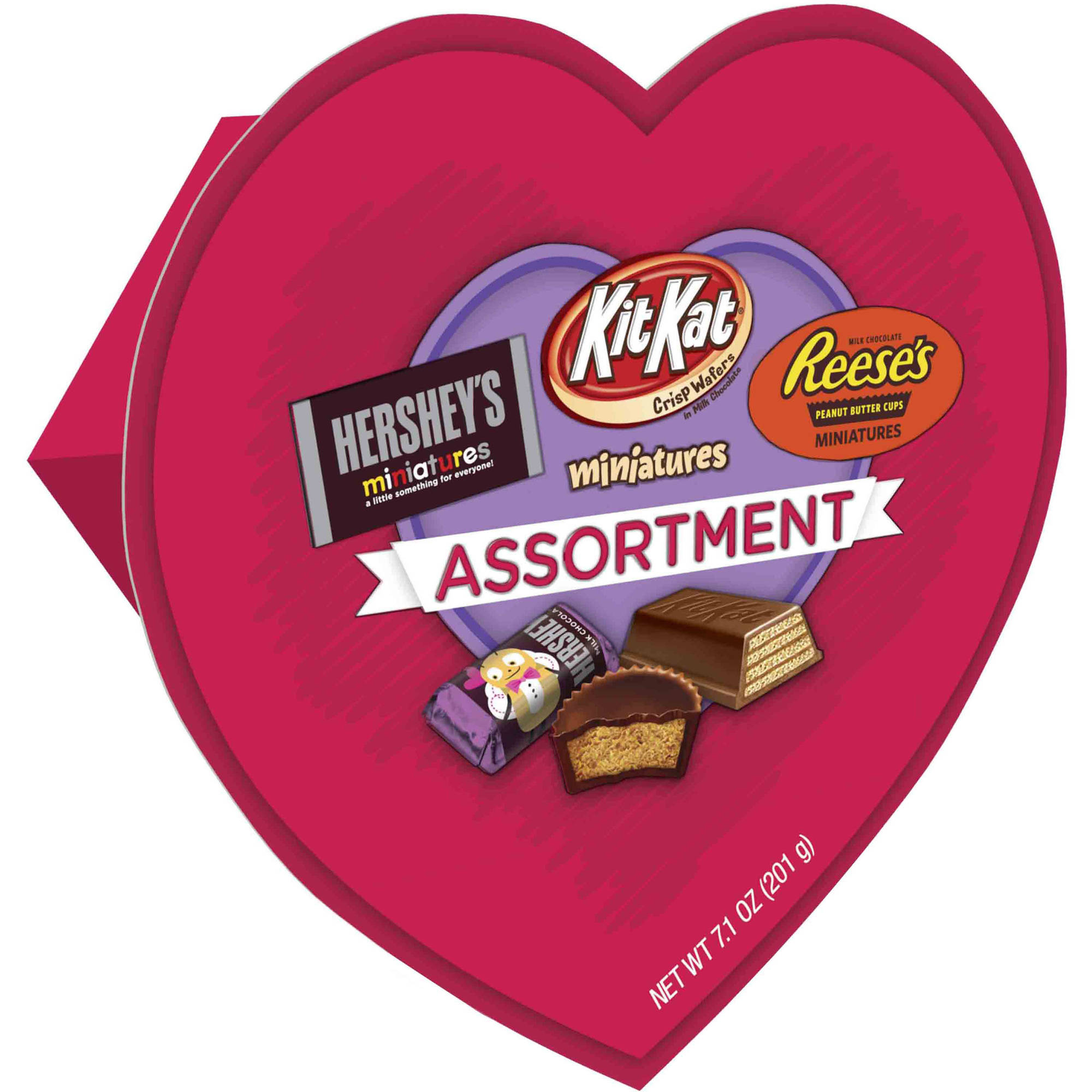 Hershey's Valentine's Candy Assortment Heart Box, 7.1 oz