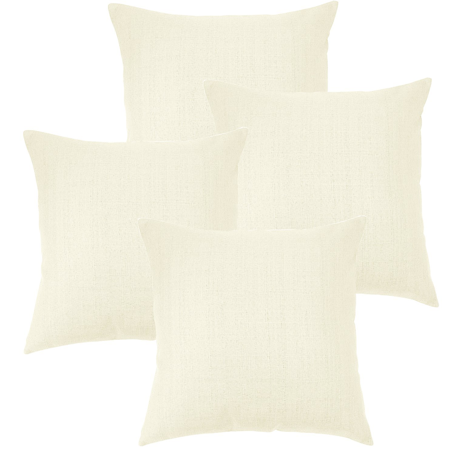 Linen Pillow Covers 20 x 20 Inch Sets of 4 Decorative Square Throw Pillow Cover Cushion... by