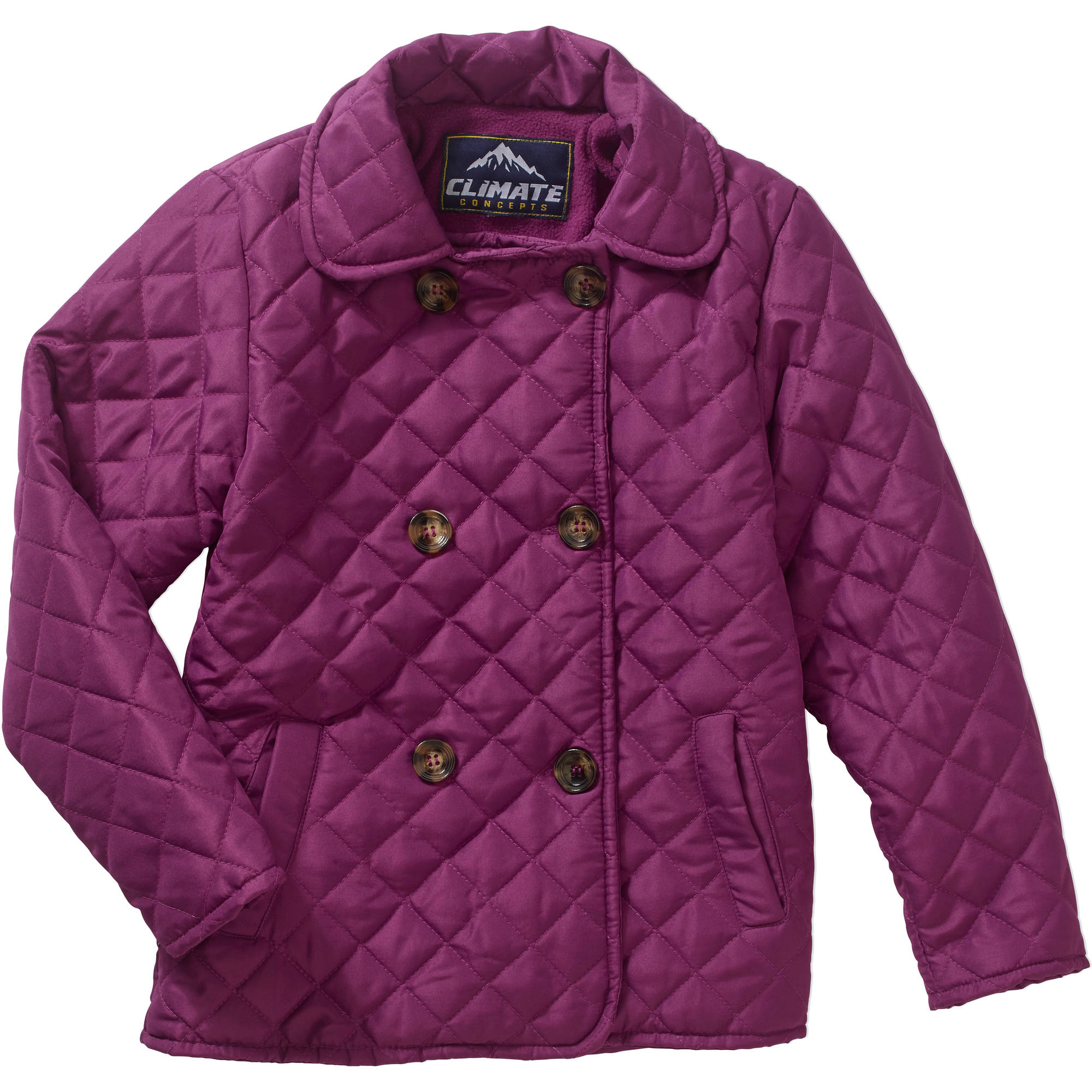 Girls' Double Breasted Quilted Coat
