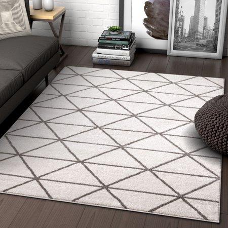 Well Woven Menage Geometric Ivory Modern Triangle Tiles
