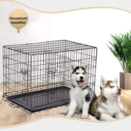 "Dog Crates and Kennels for Large Dogs, 48"" Double Door Dog Crate with Divider Panel, Folding Metal Pet Dog Cage Kennel with Leak-Proof Dog Tray/floor Protecting Feet, 48L x 30W x 32H IN, I8315"