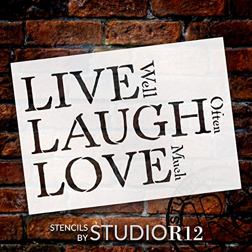 "Live, Laugh, Love - Traditional Stacked - Word Stencil - 11"" x 8 1/2"" - STCL1371_2 by StudioR12"