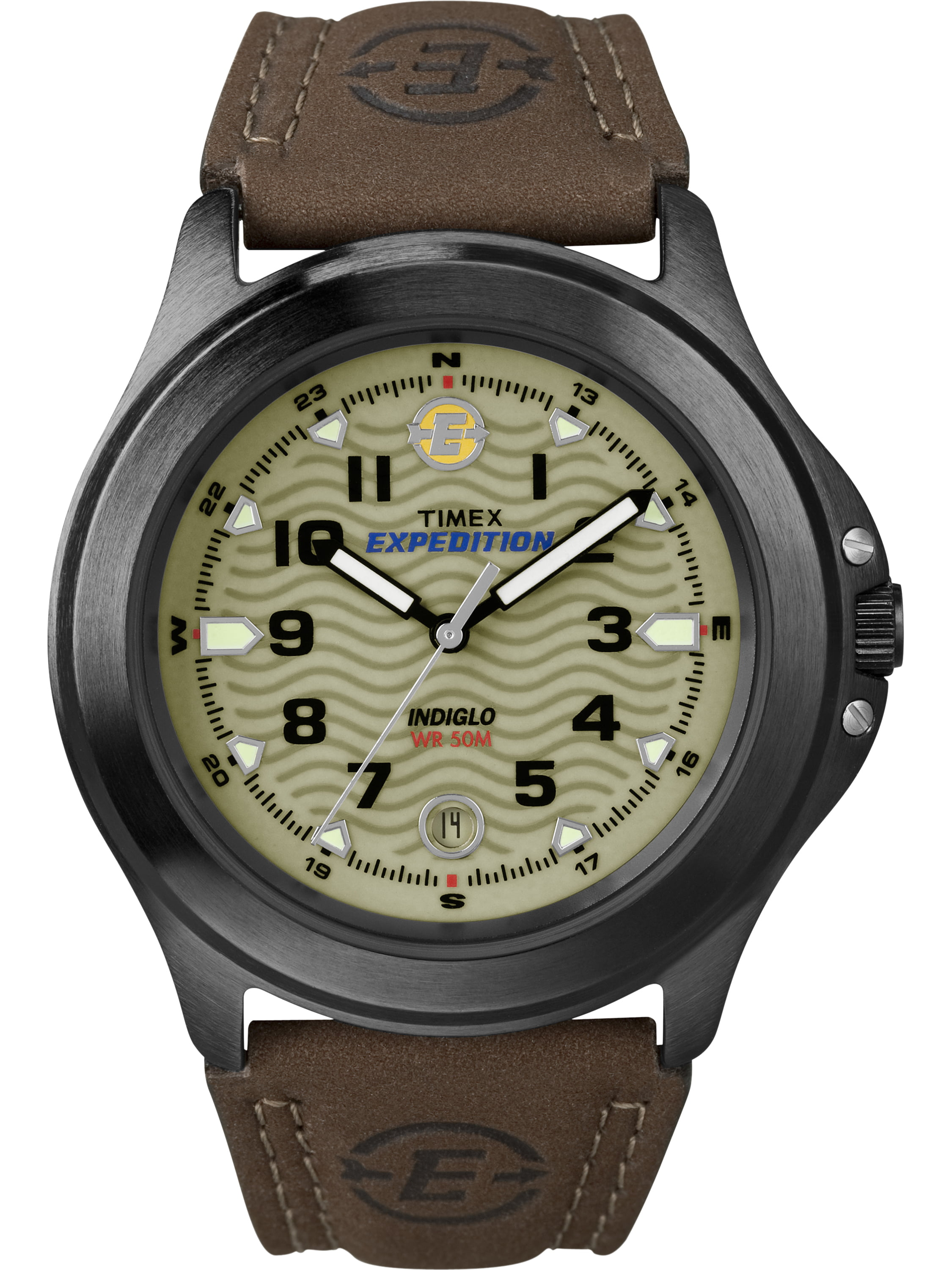 Timex Men's Expedition Metal Field Watch, Brown Leather Strap by Timex