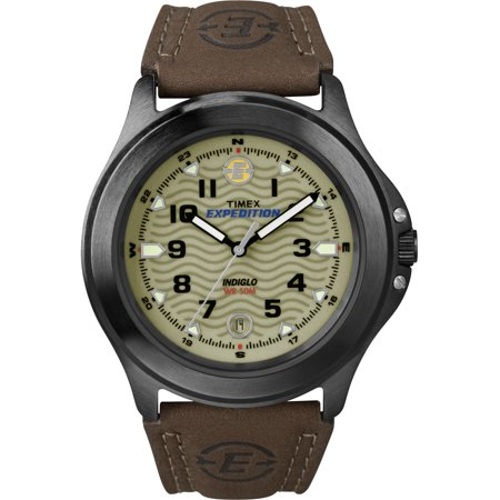 Men's Expedition Metal Field Watch, Brown Leather Strap Brown Rubber Strap Watch