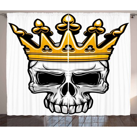 King Curtains 2 Panels Set, Hand Drawn Crowned Skull Cranium with Coronet Tiara Halloween Themed Image, Window Drapes for Living Room Bedroom, 108W X 63L Inches, Golden and Pale Grey, by Ambesonne
