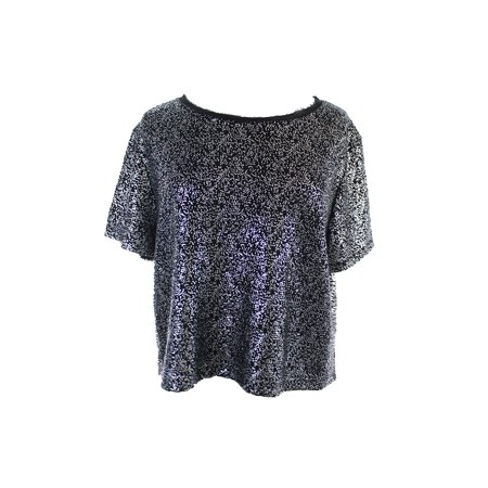 Bar Iii Black Silver Short-Sleeve Lurex Boxy Crop Top M