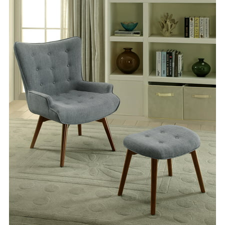 Furniture Of America Craig Mid Century Modern Accent Chair With Footstool