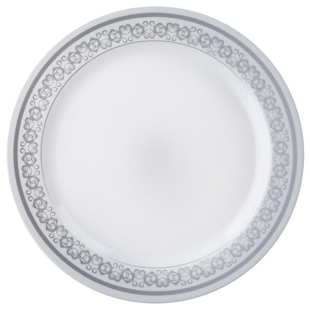 Balsacircle 10 Pcs Disposable Plastic Plates With Trim For Wedding Reception Party Buffet Catering Tableware