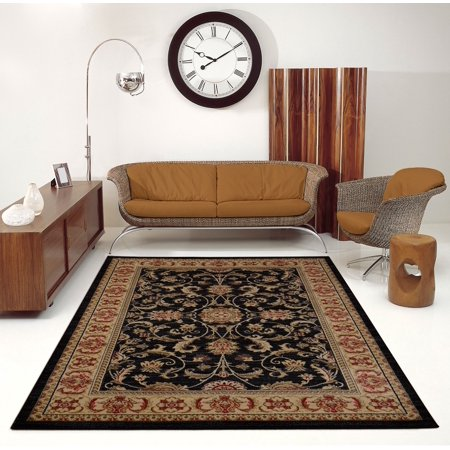 """Ladole Rugs Swallowtail Medallion Traditional Style Smooth and Durable Beautiful Area Rug Carpet in Black, 5x8(5'3"""" x 7'6"""", 160cm x 230cm) - image 1 de 4"""