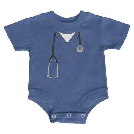 3 Month Old Baby Girl Halloween Costumes (Halloween Doctor Scrubs Costume Soft Baby Crewneck One Piece Blue 12)