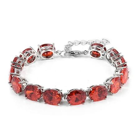 """Silvertone Oval Cubic Zircon Orange Fashion Tennis Bracelet for Women 8"""" Cttw 27.2"""