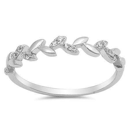Leaf Vine Fashion Clear CZ Beautiful Ring .925 Sterling Silver Band Size 9