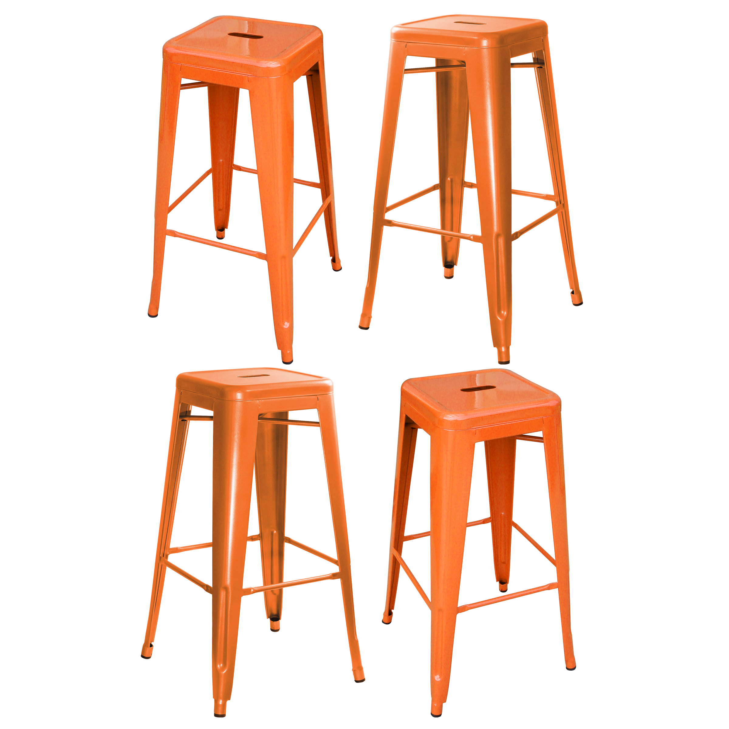 "AmeriHome Loft Metal 30"" Bar Stool, Gun Metal, Set of 4"