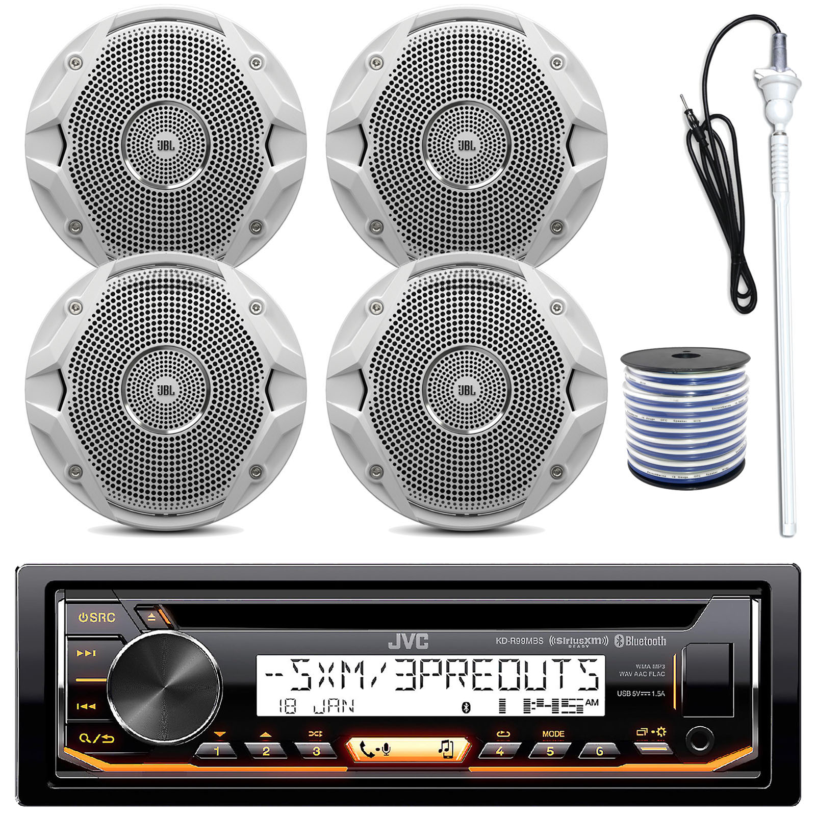"""JVC KD-R99MBS MP3/USB/AUX Bluetooth Marine Boat Yacht Stereo Receiver CD Player Bundle Combo With 4 (2 Pairs) JBL MS6510 150 Watt 6.5"""" Dual Cone White Marine Speaker + 18g 50FT Speaker Wire"""