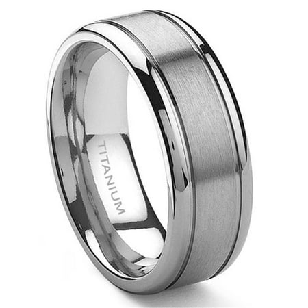 Titanium 8mm Grooved Wedding Ring Sz 10.0 Flat Grooved Wedding Ring