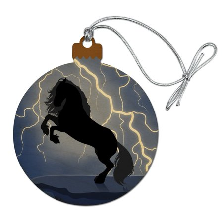 Black Friesian Horse Rearing Up in Storm Wood Christmas Tree Holiday Ornament