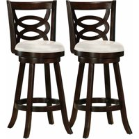 CorLiving Woodgrove Scroll Back Bar Height Barstool with Leatherette Seat, Set of 2