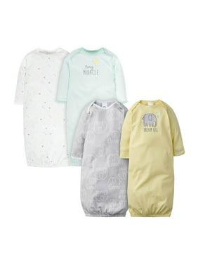 Gerber Baby Boy or Girl Gender Neutral Lap Shoulder Gowns, 4-Pack