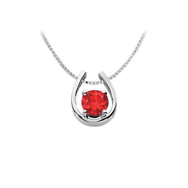 Fine Jewelry Vault UBUPD511AGR 1 Carat Created Ruby Horseshoe Pendant in Rhodium Treated 925 Sterling Silver 1 Carat TGW