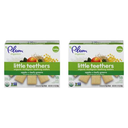 Organics Green Apple ((2 Pack) Plum Organics Little Teethers Apple with Leafy Greens, 0.52oz, 6-pack )