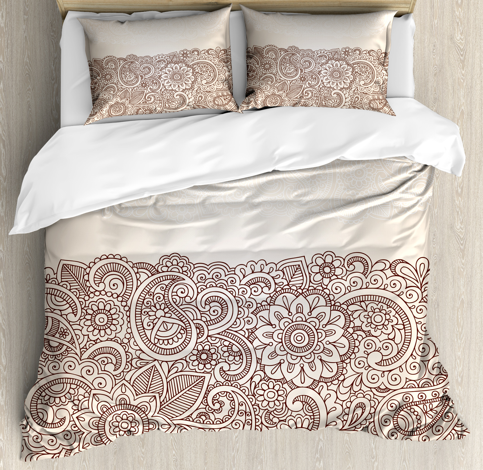 Henna Queen Size Duvet Cover Set, Complex Design with Mandala and Paisley Nature Inspired Traditional Victorian Revival, Decorative 3 Piece Bedding Set with 2 Pillow Shams, Tan Brown, by Ambesonne