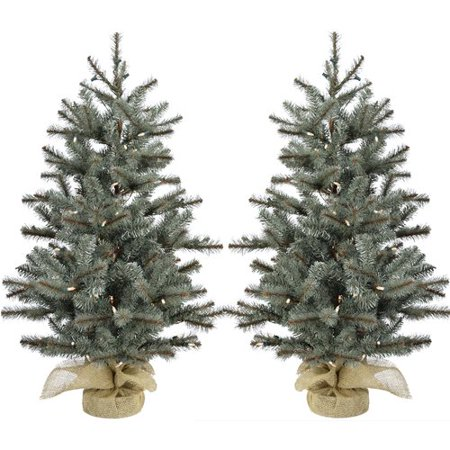 4ac13912fc65a The Holiday Aisle 3  Green Pine Artificial Christmas Tree with 150 Clear White  Lights with Burlap Base (Set of 2) - Walmart.com