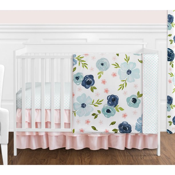 Pink Fl Baby Girl Crib Bedding Set, White And Navy Cot Bedding