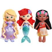Disney Princess So Sweet Princess Plush 3-Piece Bundle Set Includes Rapunzel, Moana, and Ariel, Preschool Ages 3 up by Just Play