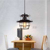 9 Inch 23*23cm E27 Mount Pendant Ceiling Light Black Industrial Vintage Retro Iron Hanging Cage Home Bedroom Pendant Restaurant Dining Living Room Cafe Home Decor Lamp Cover