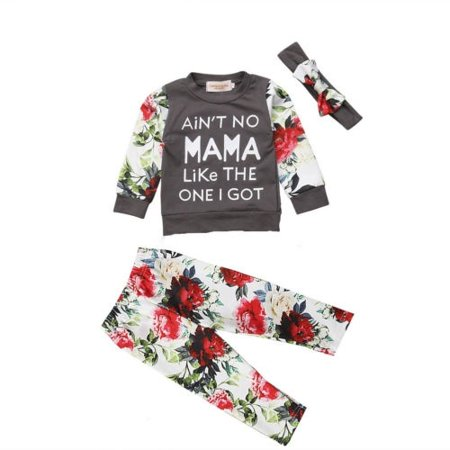 3Pcs Toddler Baby Kids Girls Floral Long Sleeve Tops Pants Outfits Set Clothes