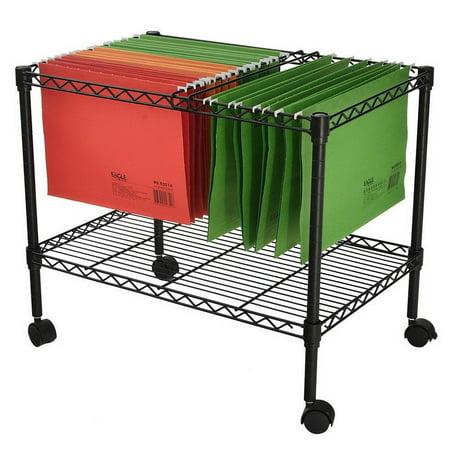 Ktaxon Single Tier Metal Rolling Mobile File Cart 23.6 x 12.6 x 18