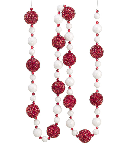 6' Red and White Glitter, Bead and Tinsel Christmas Ball Garland ...