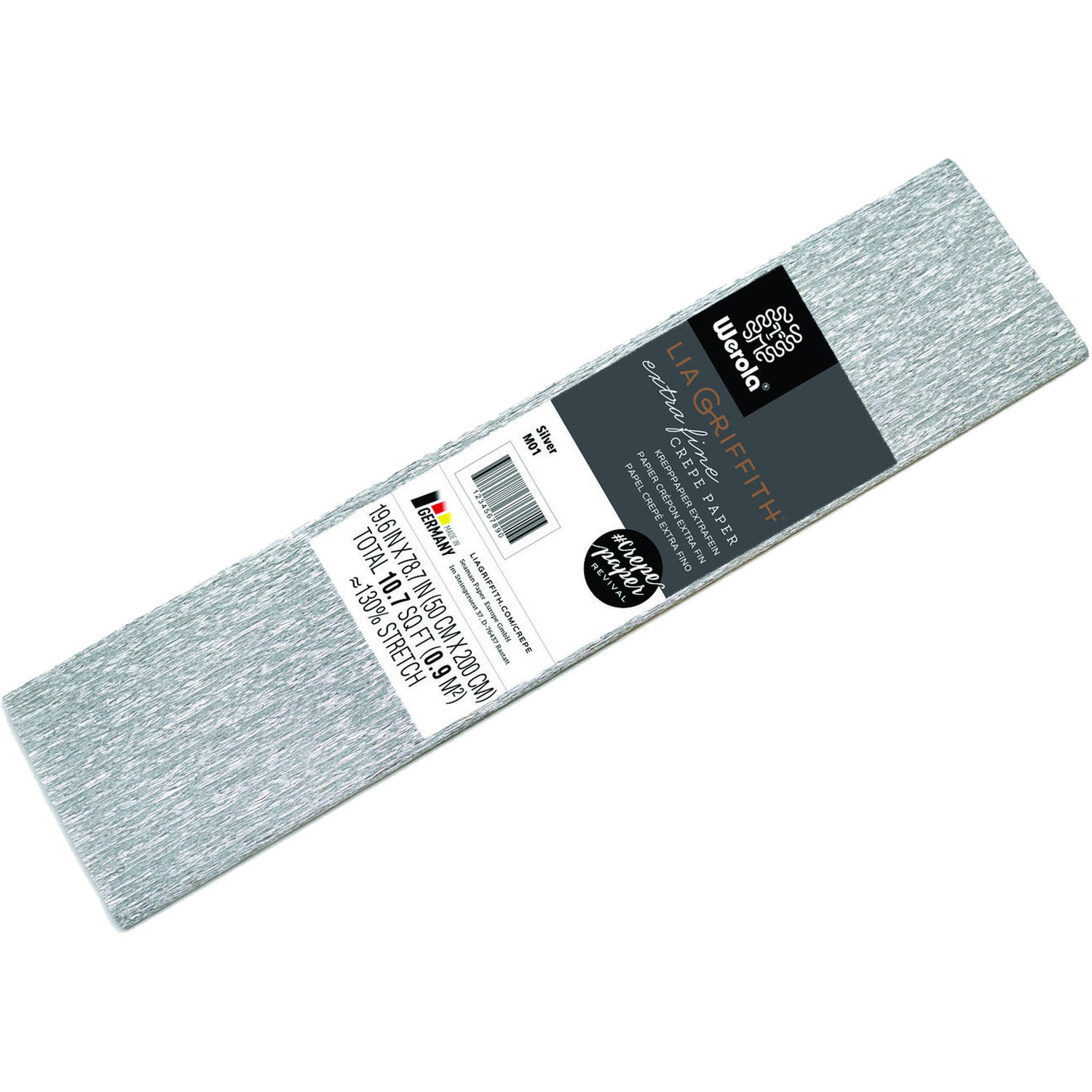 Lia Griffith Extra Fine Crepe Paper, Metallic Silver Craft Paper