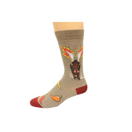 K. Bell Men's Hot Wings Crew Socks, Brown Heather, Sock Size 10-13/Shoe Size 6.5-12, 1 Pair