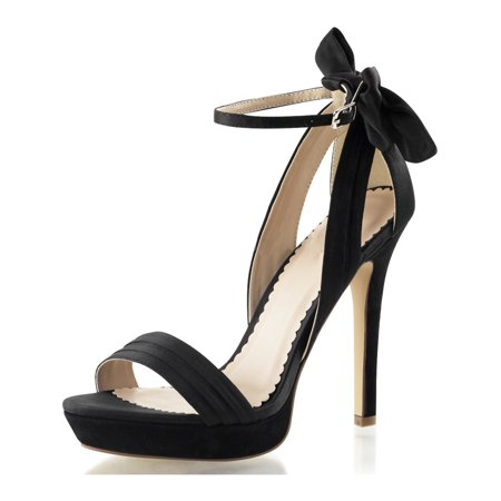 1/2 Inch Block Heel - womens black heels with bow platform sandals ankle strap shoes 4 3/4 inch heel